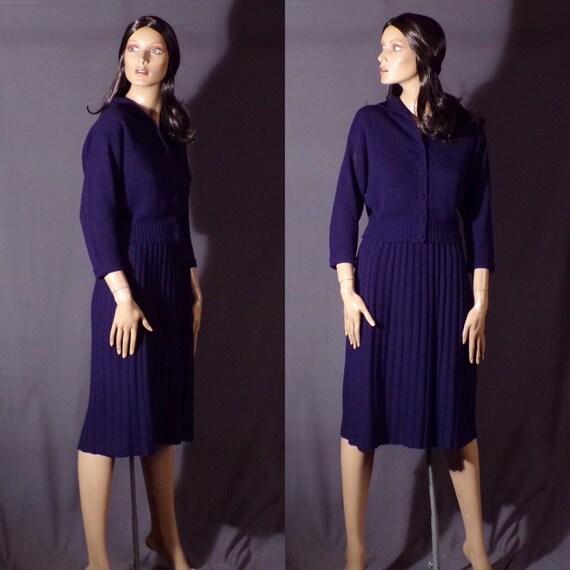 Vintage 1950s Dress - Blue Knit - Orlon - Sweater