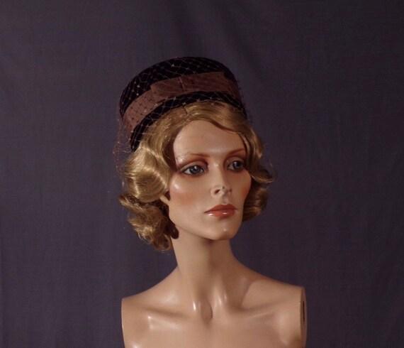 191d38bec1e Vintage 1960s Hat Velvet Pillbox Hat 60s Jackie-O
