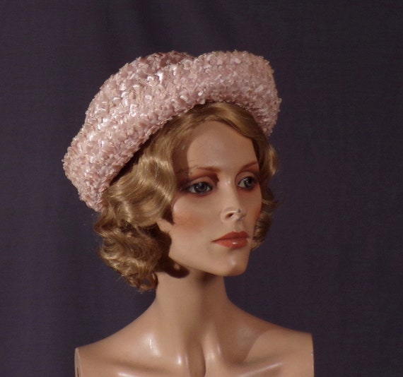 Vintage 1960s Hat - Pink - Straw - Pillbox - Jackie Kennedy - Jackie O -  Mad Men - Kentucky Derby - Pin Up - Spring - Baby Pink
