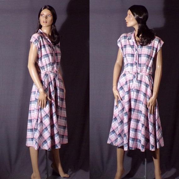 Vintage 1950s Dress - Pink Plaid - Sundress - Cott