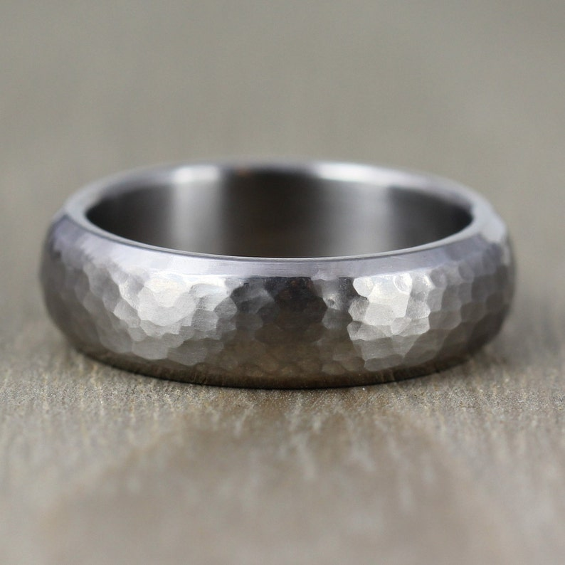 Wedding Band Hammered Effect. 6mm Titanium with FREE Engraving Hammered effect WeddingEngagement Ring