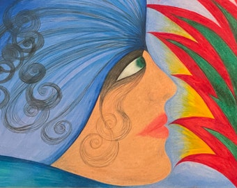 PROFILE - 8.25 x 11.75 inches (A4), colored pencils and on paper