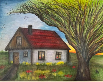 HUT - 9x12 inches, colored pencils and oil paint on paper