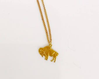 Buffalo necklace - charm - brass