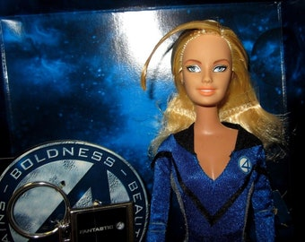 Barbie as Invisible Woman Doll by Mattel # J0871 + Key Chain Marvel Comics