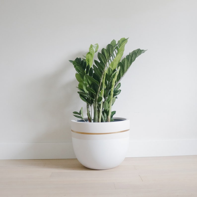 Light Matte Grey  Gold Planter  Pot  Indoor & Outdoor image 0