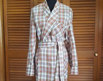 Vintage 1960s Penney's Towncraft Cotton Plaid Men's Robe - Size M 38-40