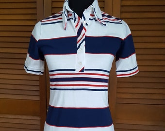 Vintage 1970s Ringtex Ladies' Fitted Striped Red White and Blue Polo Style Shirt - T Shirt -  Size S