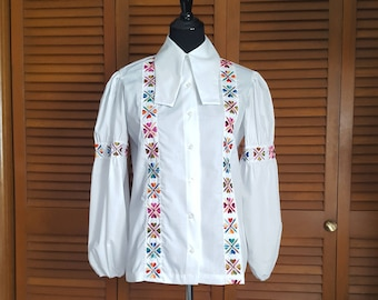 Vintage 1970s Embroidered Boho Peasant Blouse - Size 36