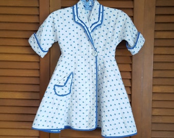 Vintage 1950s Toddler Child's Wrap Quilted Cotton Bathrobe - Size 2T - 3T