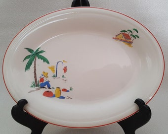 Vintage Edwin M. Knowles China Company Mexican Motif Platter