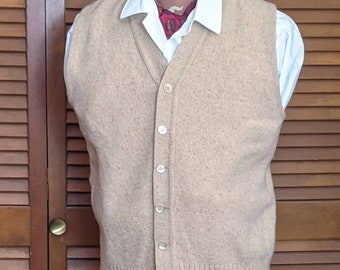 vintage oaty wool beige speckled Rolled collar classic preppy men/'s sweater Cardigan~ size LG or unisex oversized boxy~