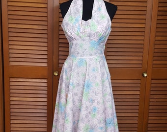 f608fcec5e3 Vintage 1950s McKay of Miami Pastel Print Cotton Halter Dress - Size 8
