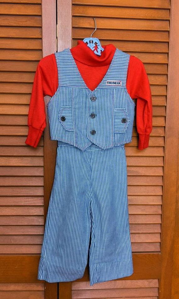 Vintage 1970s Toddler's Striped Denim Engineer Se… - image 2