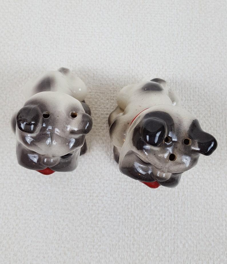 Made In Japan Vintage Mid-Century Ceramic Bulldog Salt and Pepper Shakers