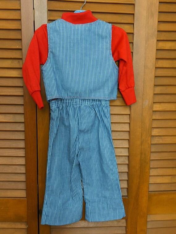 Vintage 1970s Toddler's Striped Denim Engineer Se… - image 3