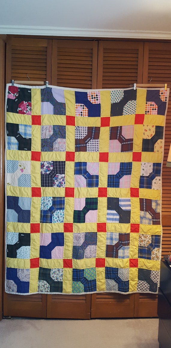 Quilts 1950s Pieced Squares Heavy Quilt Blanket Handmade