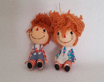 Vintage Raggedy Ann and Andy Christmas Ornaments - Set of 2 - Japan