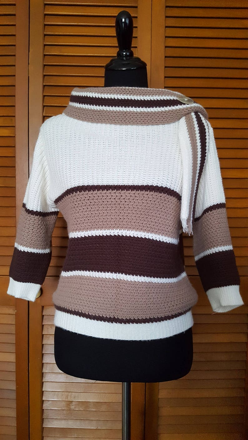Vintage Mid-Century Sweater Girl Bulky Knit Striped Sweater With Scarf Collar by Lady Barbara Size M