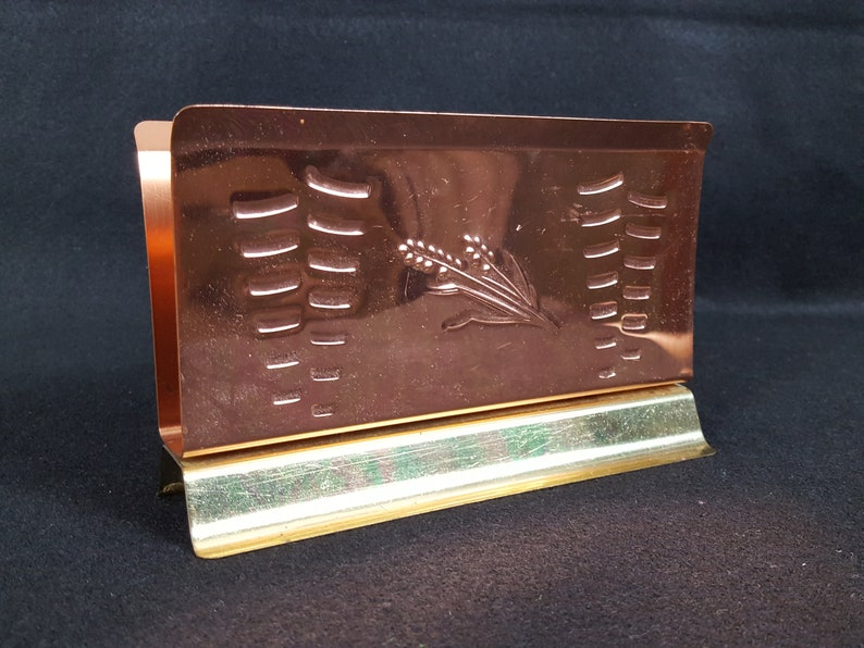 Vintage Coppercraft Guild Napkin Holder Wheat Motif