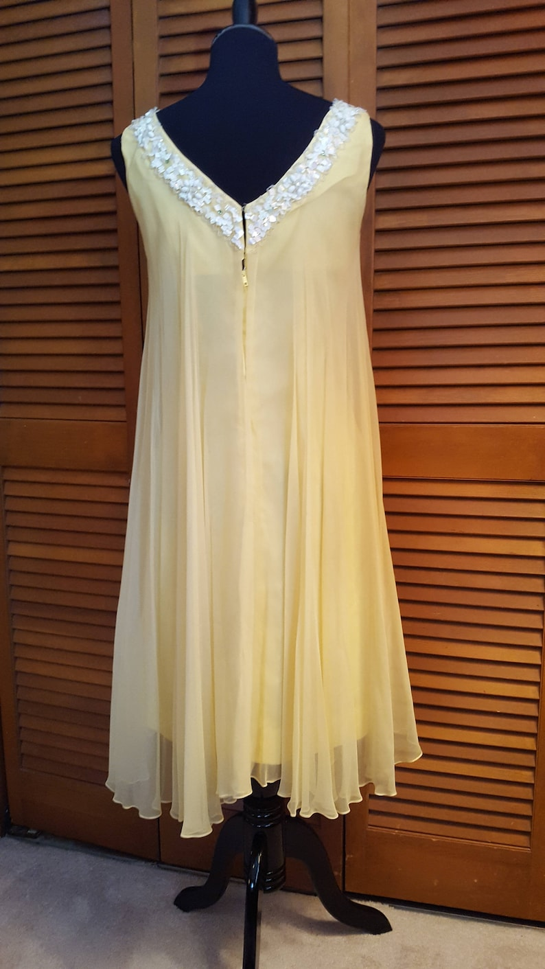 Size 6-8 Vintage 1960/'s Yellow Chiffon Float Cocktail Dress with Sequin Trim