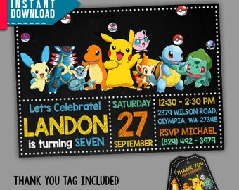Pokemon Invitation, Pokemon Birthday, Pokemon Party, Editable PDF Template,  Instant Download, Editable Invitation, FREE Thank You Tags