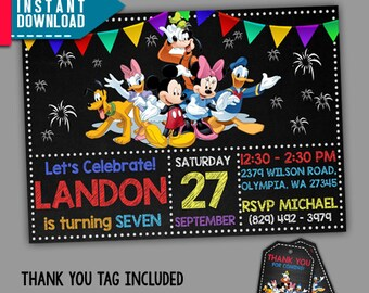 Mickey Mouse Invitation, Mickey Mouse Birthday, Mickey M, Editable PDF Template, Instant Download, Editable Invitation, FREE Thank You Tags
