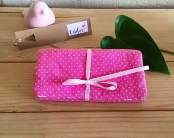 """Peas and pink whales"" cotton jewelry pouch."