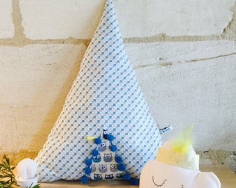 Teepee pillow. Decorative pillow. Teepee cotton blue and yellow with feathers and tassels.