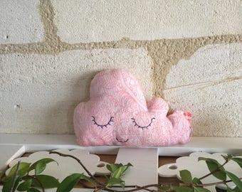"Cotton blend cloud cushion ""pink arabesque""."