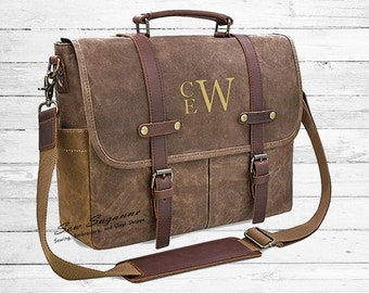 acd2570fb42 Monogrammed Men s Messenger Bag Waxed Canvas Leather Bag Laptop Computer Bag