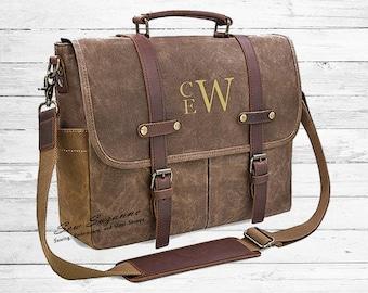 Monogrammed Men s Messenger Bag Waxed Canvas Leather Bag Laptop Computer Bag ca505326875