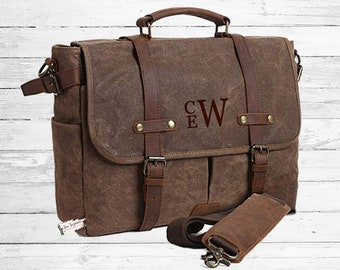 Monogrammed Retro Men s Messenger Bag Waxed Canvas Leather Bag Laptop  Computer Bag 3c00a17304b07