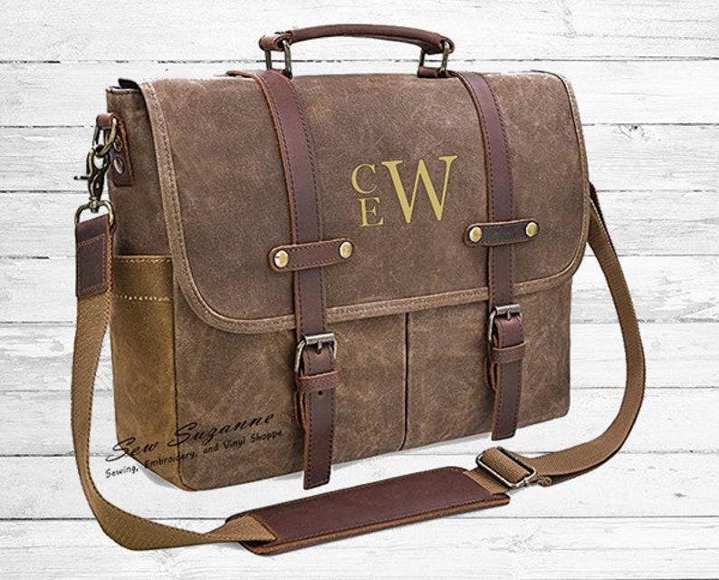 Monogrammed Men s Messenger Bag Waxed Canvas Leather  2dc26ec6ec206