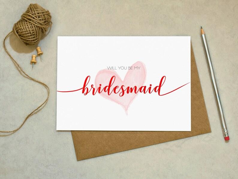 Love Card Greetings Card Wedding Card Will You Be My Bridesmaid