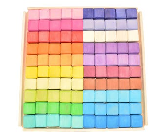 Baby blocks Montessori Toys Rainbow Stacker Wooden cubes Stacking Toy Building blocks Toddler Waldorf Kids Childrens Gift Puzzle Color Sort