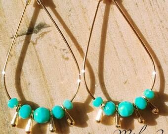 Drop hoop earrings turquoise pearls