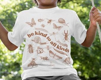 Youth Be Kind To All Kinds Kids Unisex Softstyle Tee   Entomology Shirt, Insect Lover Shirt,  Cottagecore Clothing, gender neutral