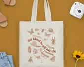 Be Kind To All Kinds Canvas Tote Bag | Teacher gift | cottage core| Canvas Bag | Market Tote | Grocery Bag | butterfly, be kind,