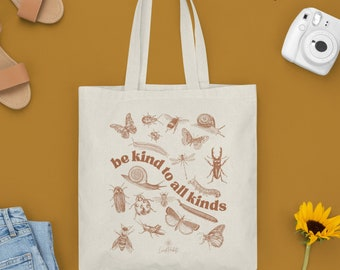 Be Kind To All Kinds Canvas Tote Bag   Teacher gift   cottage core  Canvas Bag   Market Tote   Grocery Bag   butterfly, be kind,