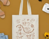 Cottagecore Mushroom Canvas Tote Bag | Tote Bag With Quote | fungi magic, Find your food| Canvas Bag | Market Tote | Grocery Bag