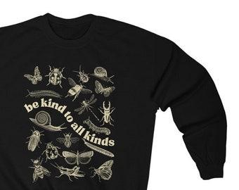 Be Kind To All Kinds Unisex Heavy Blend Crewneck Sweatshirt   cottage core, butterfly, growth, Entomology, be kind, bugs, teacher sweatshirt