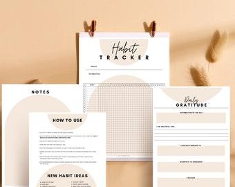 FREE* Habit Tracker Printable, Bullet Journal Tracker, Habit Planner, gratitude journal
