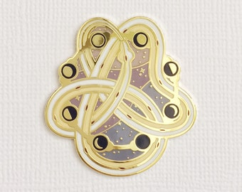 Snake and moon hard enamel pin Moon phases pin Crescent moon gift Celestial gift with Ouroboros snake enamel pin design