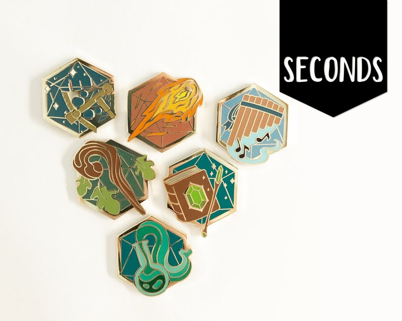 Seconds d20 Archetypes Set 1  Hard enamel pins image 0
