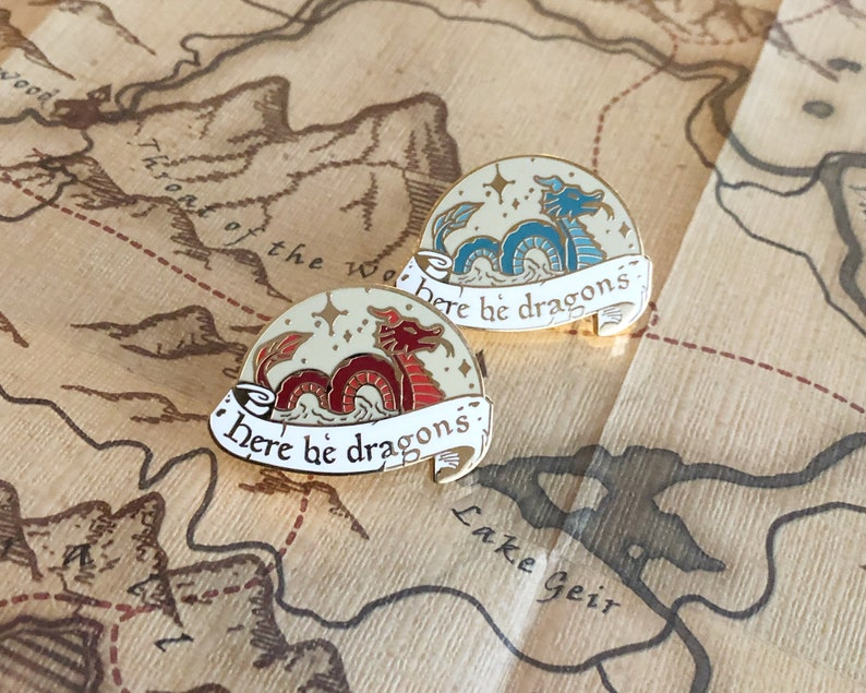 Here be dragons  Hard enamel pin image 0