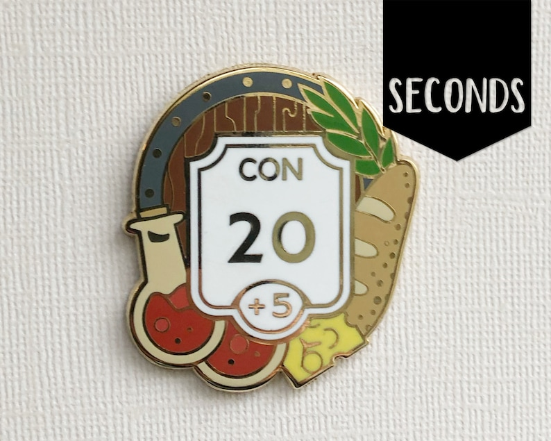 Seconds Constitution enamel pin  Ability score pin  Hard image 0