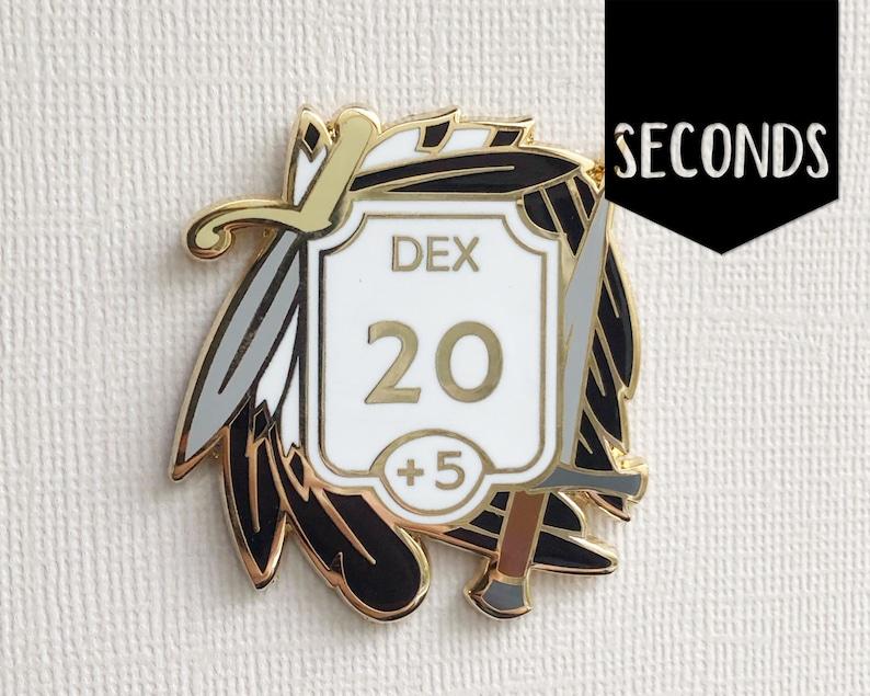 Seconds Dexterity enamel pin  Ability score pin  Hard image 0