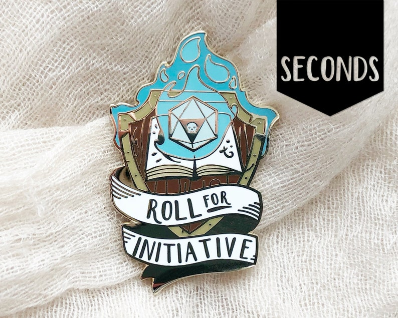 Seconds Roll for Initiative enamel pin  Blue Flame  Hard image 0