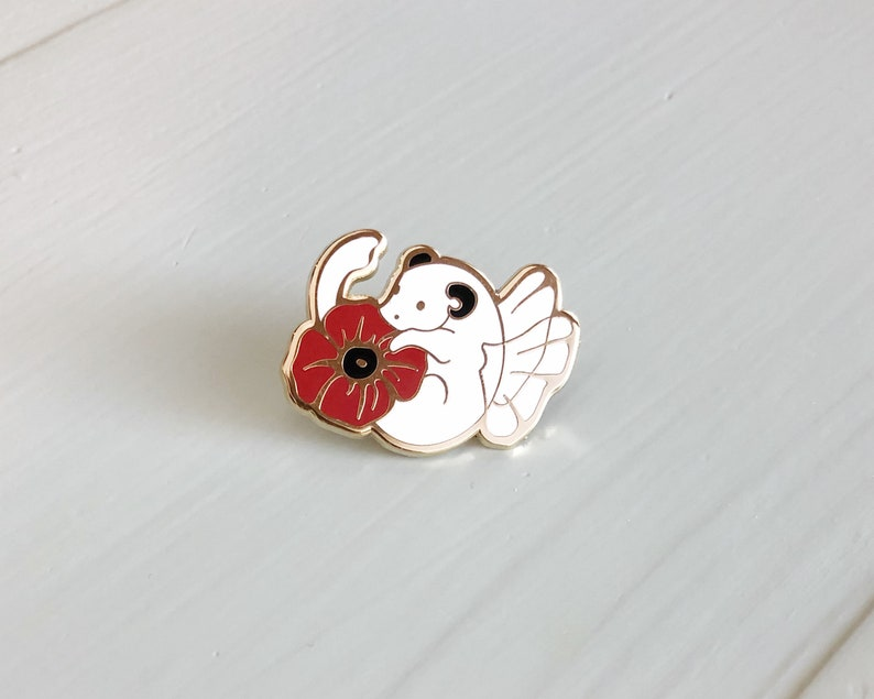 Poppy dragon enamel pin  Hard enamel pin  August image 0